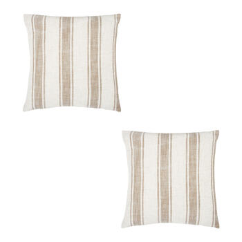Striped Feather-Fill Square Throw Pillows, Set of 2 view 1