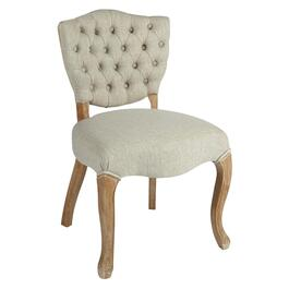Tufted-Back Upholstered Wood Dining Chair