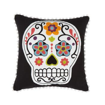 Black Sugar Skull Halloween Throw Pillow