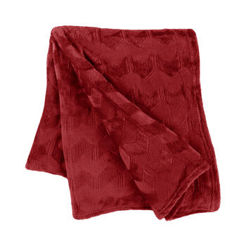 Solid Chevron-Embossed Velvety Throw view 1
