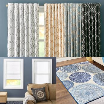 Area Rugs, Kendall Window Panel Pairs and Cordless Shades