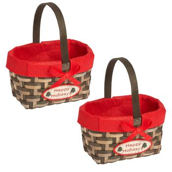 """Happy Holidays"" Woven Gift Baskets, Set of 2"