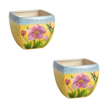 "6.5"" Yellow/Pink/Purple Flowers Square Planters, Set of 2 view 1"