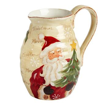 """Merry Christmas"" Santa Ceramic Drink Pitcher"