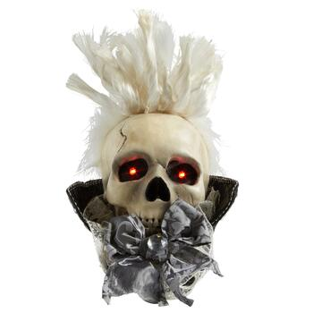 "10"" Lighted Skeleton Head Decor"