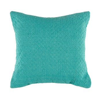 Solid Aqua Woven Indoor/Outdoor Square Throw Pillow view 1