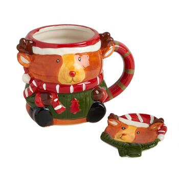 Buddy Reindeer Mug and Spoon Plate Set, 2-Piece