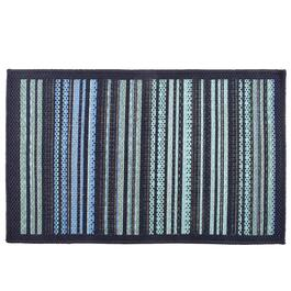 Blue Green Stripe All Weather Area Rug
