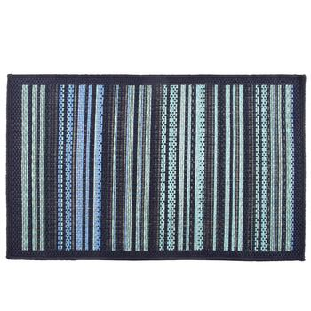 Blue/Green Stripe All-Weather Area Rug
