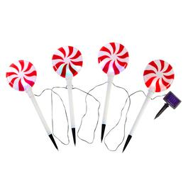 "7"" Peppermint Twist Stake Lights, Set of 4"