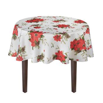 Red Poinsettia and Pinecone Tablecloth view 2