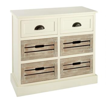 Alden Ivory 2-Drawer 4-Shutter Washed Wood Storage Cabinet