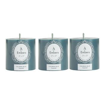 "Embers® 3"" Colonial Blue Scented Pillar Candles, Set of 3"