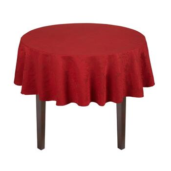 Red Poinsettia Jacquard Cotton Tablecloth view 2