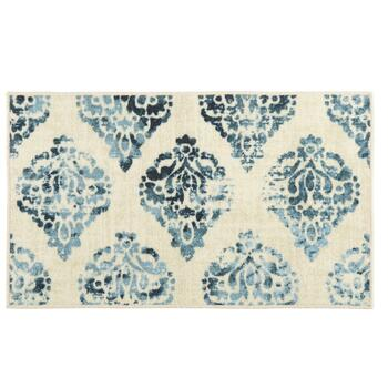 Mohawk Home Ivory/Blue Damask Printed Accent Rug
