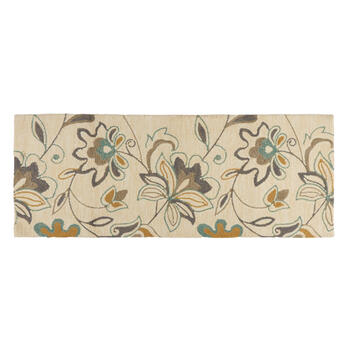 Teal/Gray Floral All-Weather Hand-Hooked Rug view 3