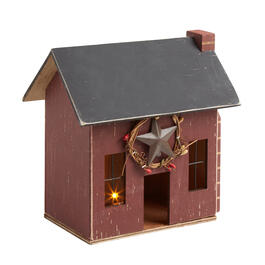 "8.25"" Red Lighted Wood Holiday Chimney House view 1"