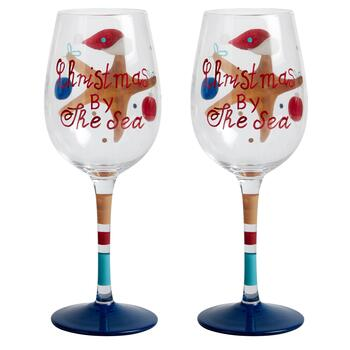 """Christmas by the Sea"" Starfish Hand-Painted Wine Glasses, Set of 2 view 2"