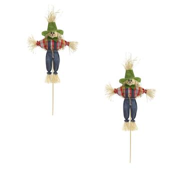 "20"" Scarecrow Boy with Denim Pants on a Stick, Set of 2"