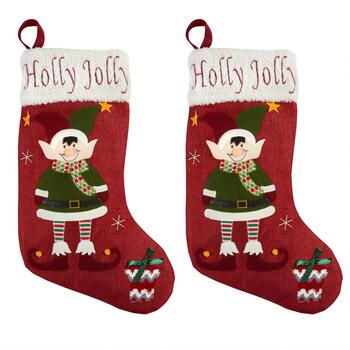 """Holly Jolly"" Sherpa Cuff Burlap Stockings, Set of 2"