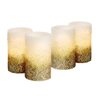 Gold Glitter LED Pillar Candles, Set of 4