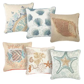 Embroidered Coastal Pillows
