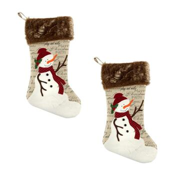 Red Scarf Snowman Script Burlap Stockings with Faux Fur Cuff, Set of 2