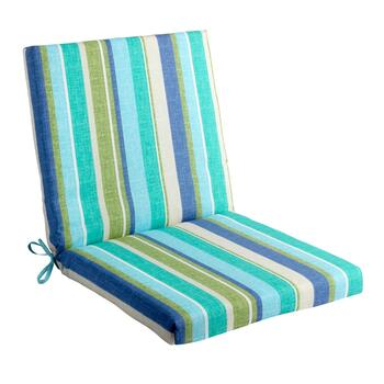Green/Blue Striped Indoor/Outdoor Mid-Back Chair Pad