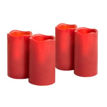 Red Cinnamon Stick LED Pillar Candles, Set of 4