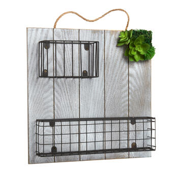 "12"" Wood Square Wall Hanger with Baskets and Artificial Succulent view 1"
