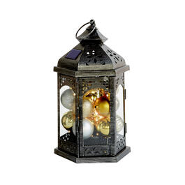 "15"" Silver/Gold Balls Hexagon Color-Changing Solar Lantern view 1"