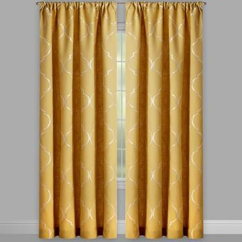 Lexi Yellow Ogee Embroidered Window Curtains, Set of 2