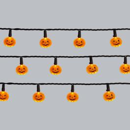 8.5' Orange Jack-O-Lanterns LED String Lights, Set of 2
