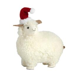 "10.5"" Sheep with Santa Hat Decor"