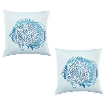 Big Fish Indoor/Outdoor Square Throw Pillows, Set of 2