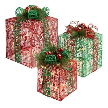 Lighted Gift Boxes, Set of 3