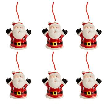 Santa with Black Mittens Ceramic LED Ornaments, Set of 6