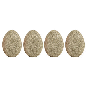 "4"" Glittered Eggs Tabletop Decor, Set of 4 view 1"