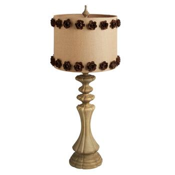 "37"" Brown Floral Table Lamp"