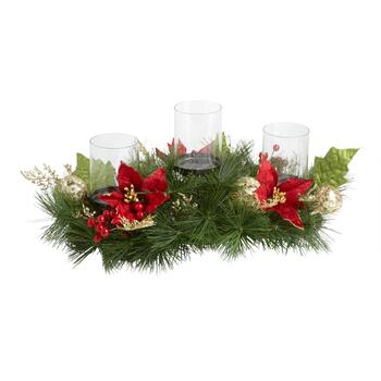 "22"" Poinsettia 3-Candle Holder Centerpiece"