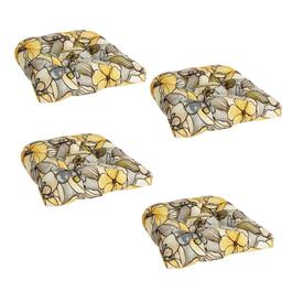 Yellow Floral Indoor/Outdoor Single-U Seat Pads, Set of 4