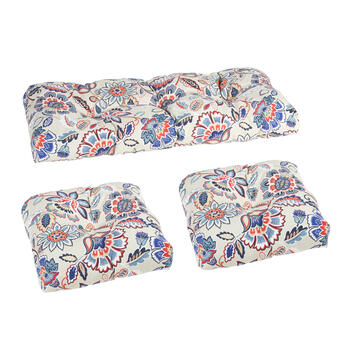 Blue/Red Floral Paisley Indoor/Outdoor Seat Pad Set, 3-Piece view 1