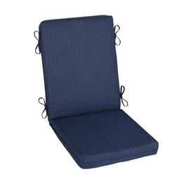 Solid Dark Blue Woven Indoor/Outdoor Hinged Chair Pad view 1
