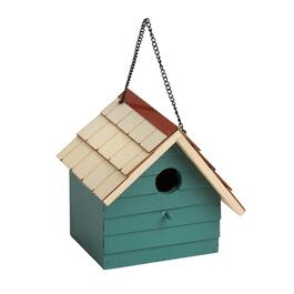 Green Off-Centered Shingle Roof Wood Birdhouse