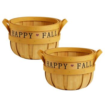 "Small ""Happy Fall"" Stencil Bushel Baskets, Set of 2"