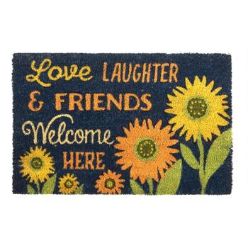 "18""x28"" ""Love, Laughter & Friends"" Sunflower Coir Door Mat"