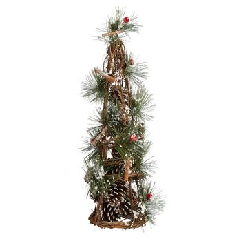 "19"" Snowy Cinnamon Sticks Pinecone Tree"