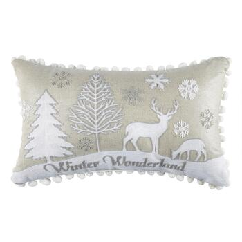 """Winter Wonderland"" Oblong Throw Pillow"