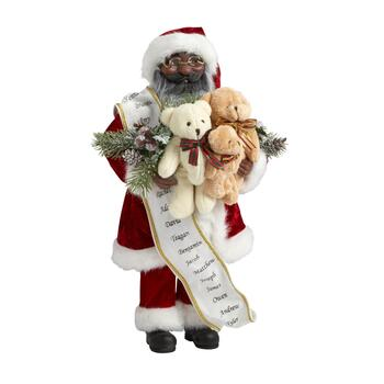 "16"" African American Teddy Bear Trio Decorative Santa"