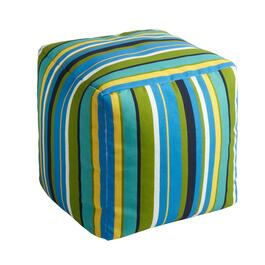"14"" Blue/Yellow/Green Striped Indoor/Outdoor Square Ottoman"